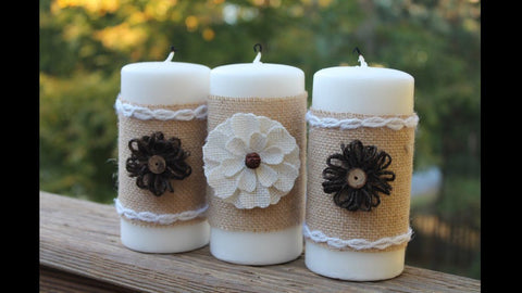 Burlap Floral White Candle Collection