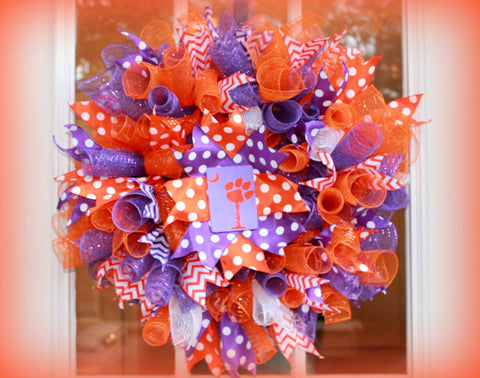 Clemson Tigers Curly Deco Mesh Gameday Wreath