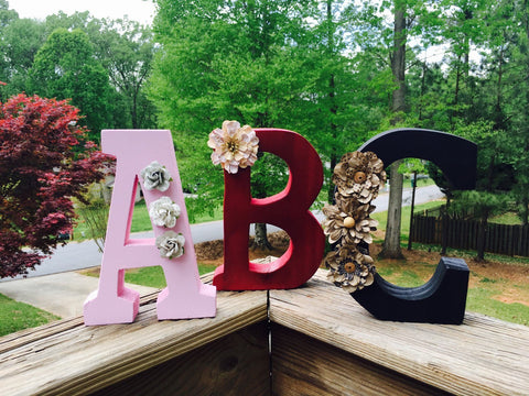 "7"" Hand-Painted Wooden Initials"