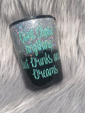 10 oz Liquor Glitter Coated Tumbler
