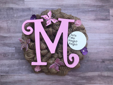 Baby Girl Birth Announcement Hospital Door Wreath Pink Nursery Decor