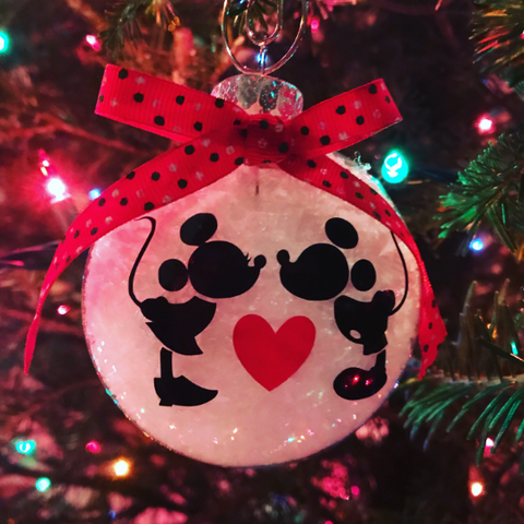 Mickey and Minnie Hand-Made Christmas Ornament
