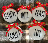 Frosted Glass Christmas Ornament Set