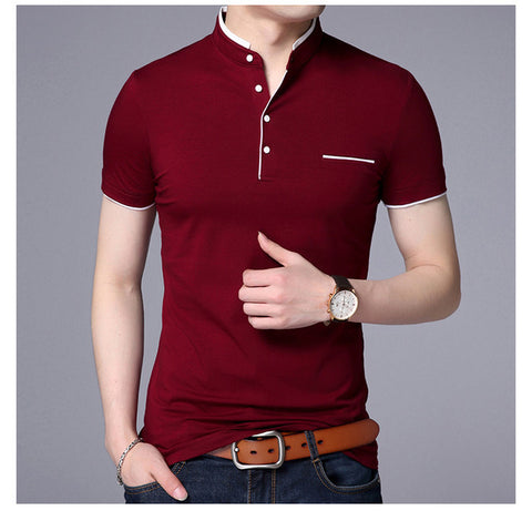 Men's Mandarin Collar Short Sleeve Casual T-shirts