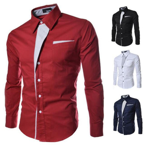 Mens Long Sleeve Stripe Casual Shirt