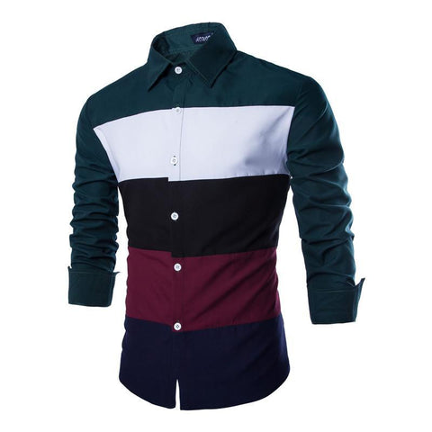 Multicolor Striped Long Sleeve Men's Shirt
