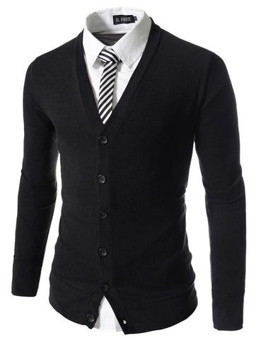 V-neck Casual Slim Cardigan Sweater for Men
