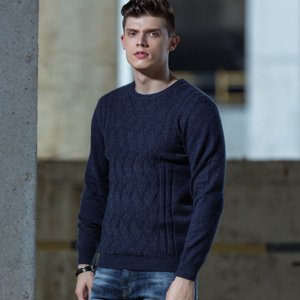 Men's Jacquard Thick Round Neck Sweater