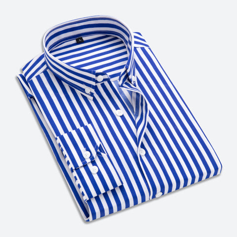 Mens Striped Long-sleeved Shirt