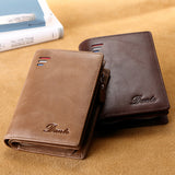 Men's Short Leather Zipper Retro Vertical Wallet