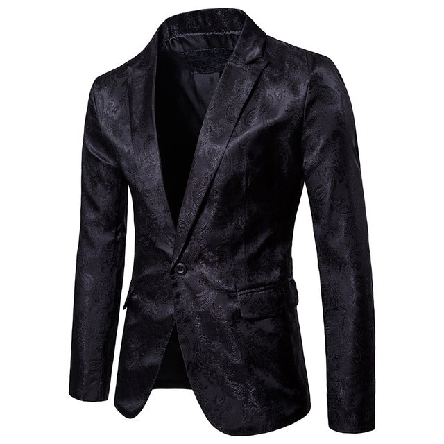 Mens Dark Grain Design Slim Suit With One Buckle