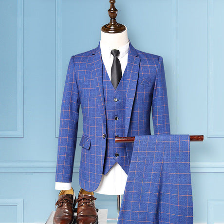 Men's Slim Business Plaid Suit Three-Piece Set