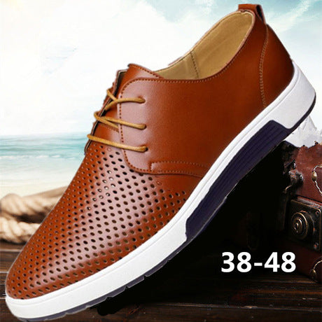 Men's British Model Flat Holes & Plain Sneakers Shoes