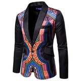 Men's Printed Stitching Slim Suit