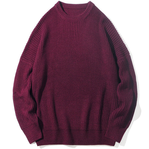 Men's Solid Color Couple Oversize Loose Sweater