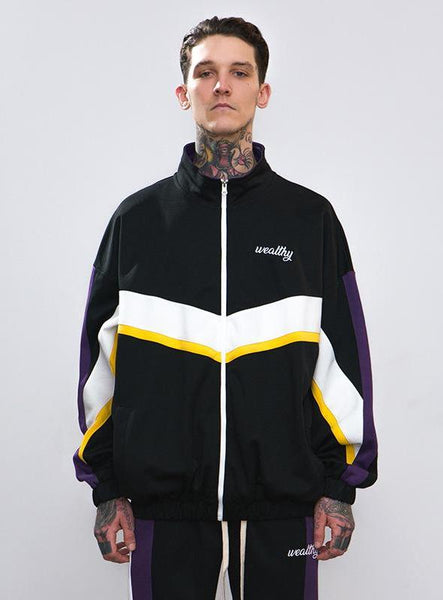 Men's Embroidered Contrast Striped Sports Jacket