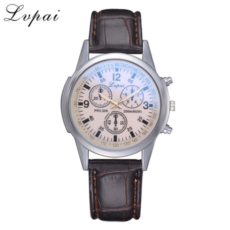 Men's Crocodile Faux Pu Leather Analog Wrist Watch