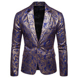 Men's Bronzing Floral Slim Suit