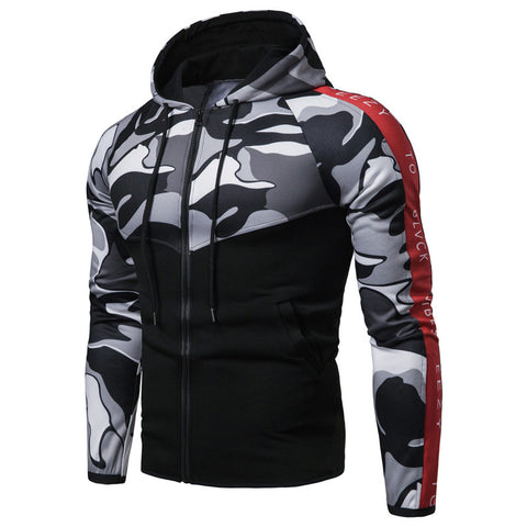 Men's Slim Fit Hooded Colorblock Jacket
