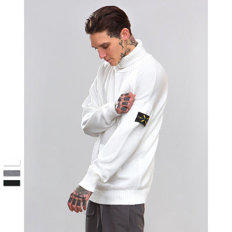 Men's Solid Color High Collar Casual Sweater