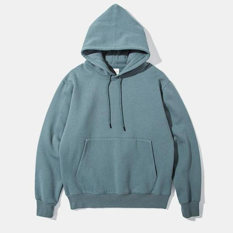 Solid Color Plus Velvet Padded Hooded Sweater