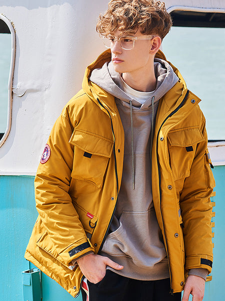 Men's Loose Multi-pocket Thick Hooded Jacket