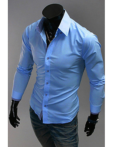 Mens Casual Long Sleeve Plain Shirt