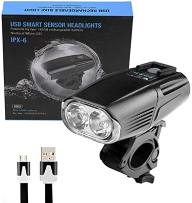 Rechargeable usb bike headlight including a rear light