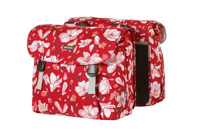 Bicycle double panier bag 35L with Magnolia in red from Basil