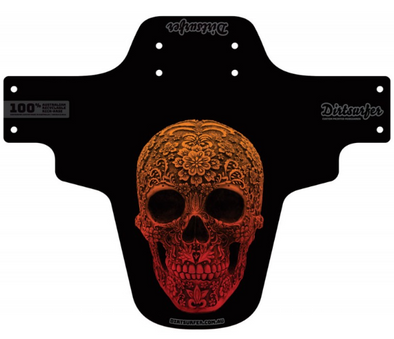 Dirtsurfer Carved Skull mudguard in black.