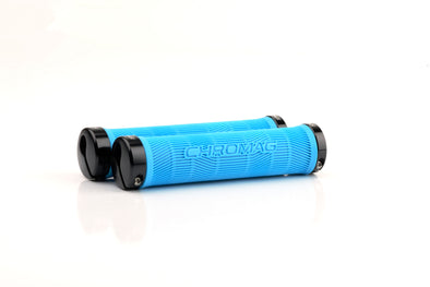 Chromag Palmskin bike grips in cyan black