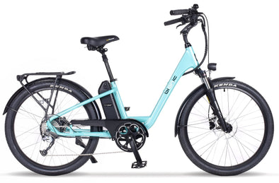 Bionic Cruiser step-through electric bike with hub drive motor aqua
