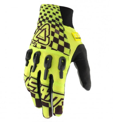 Leatt Airflex DBX 3.0 full finger bike gloves in yellow and black.