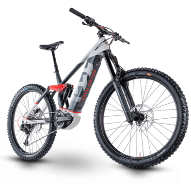 Husqvarna Hard Cross 7 2021, Electric Enduro Mountain Bike in grey, white and red.