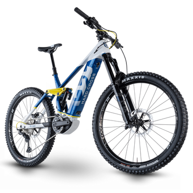 Husqvarna Hard Cross 8 2021, Electric Enduro Mountain Bike in White, Blue and Fluro.