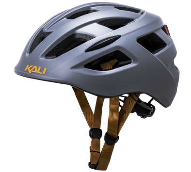Kali Mat Grey Central helmet with a rechargeable rear light in grey