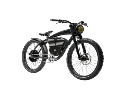Scrambler electric bike in matt black front
