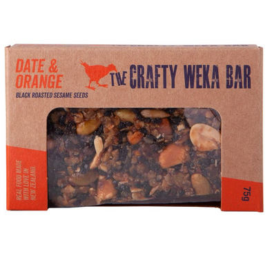 The Crafty Weka bar date & orange with black roasted sesame seeds