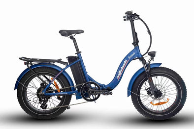 Watt Wheels Scout Electric Folding Bike in Blue Low step frame