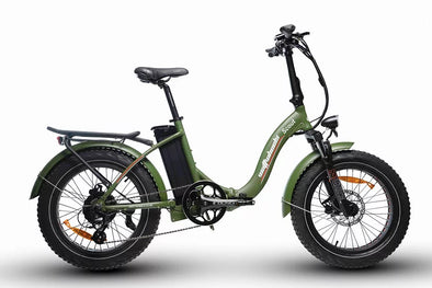 Watt Wheels Scout Electric Folding Bike in Green Low step frame