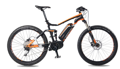 Electric full suspension mountain bike smart motion hyper sonic in black and orange