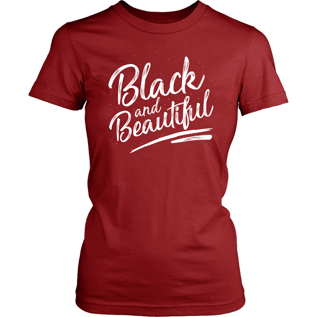 Black and Beautiful Womens Tshirt - Melanin Magic