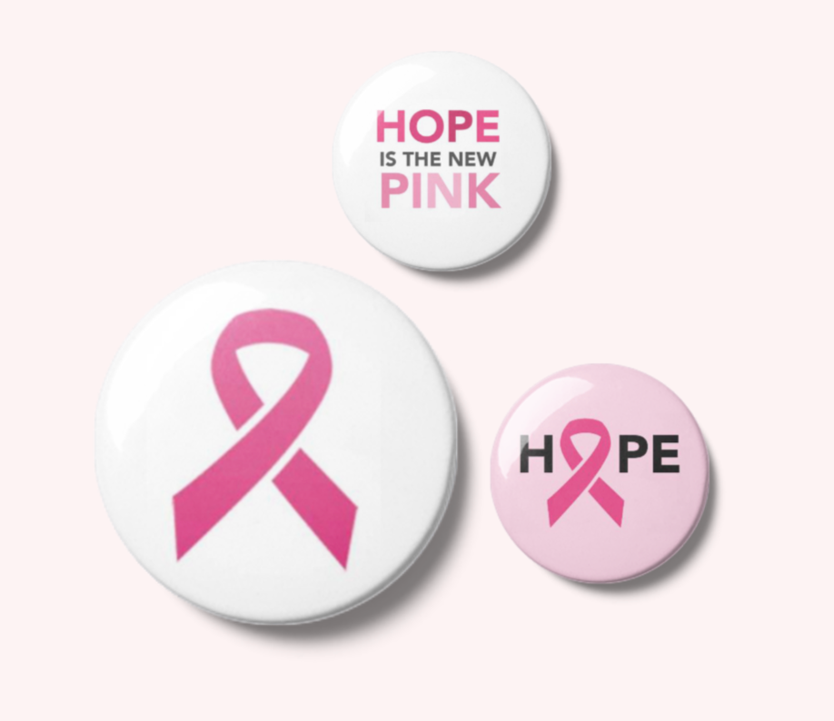 Hope with Pink Ribbon Pin Back Button - Breast Cancer Awareness