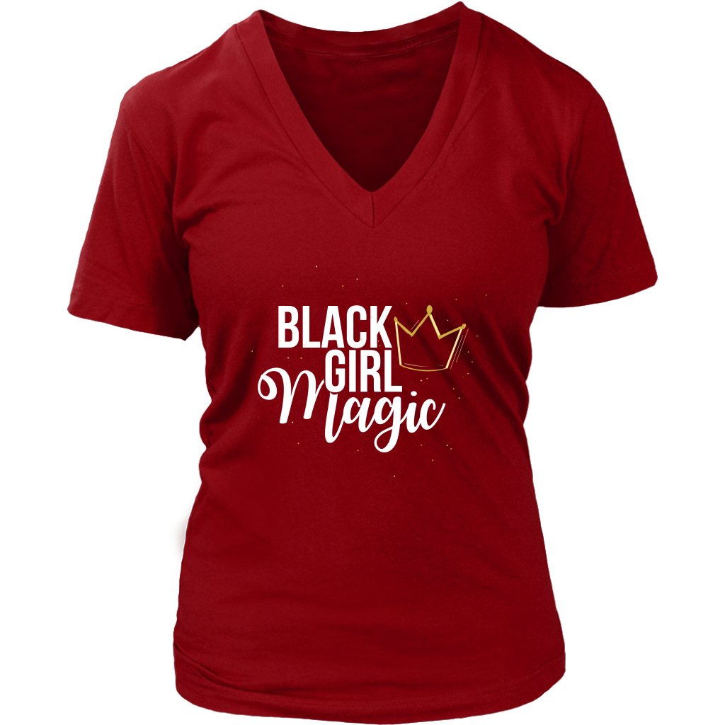 Black Girl Magic with Gold Crown V-Neck - Black Girl Magic