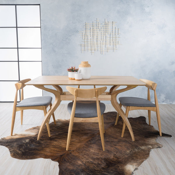 Barnsfield Fabric And Wood 5 Piece Dining Set