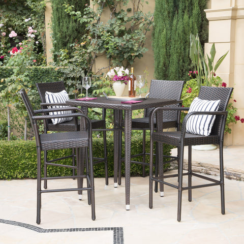 Clyde Outdoor 5 Piece Wicker 32.5 Inch Square Bar Table Set