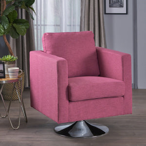 Hiro Modern Magenta Fabric Swivel Chair