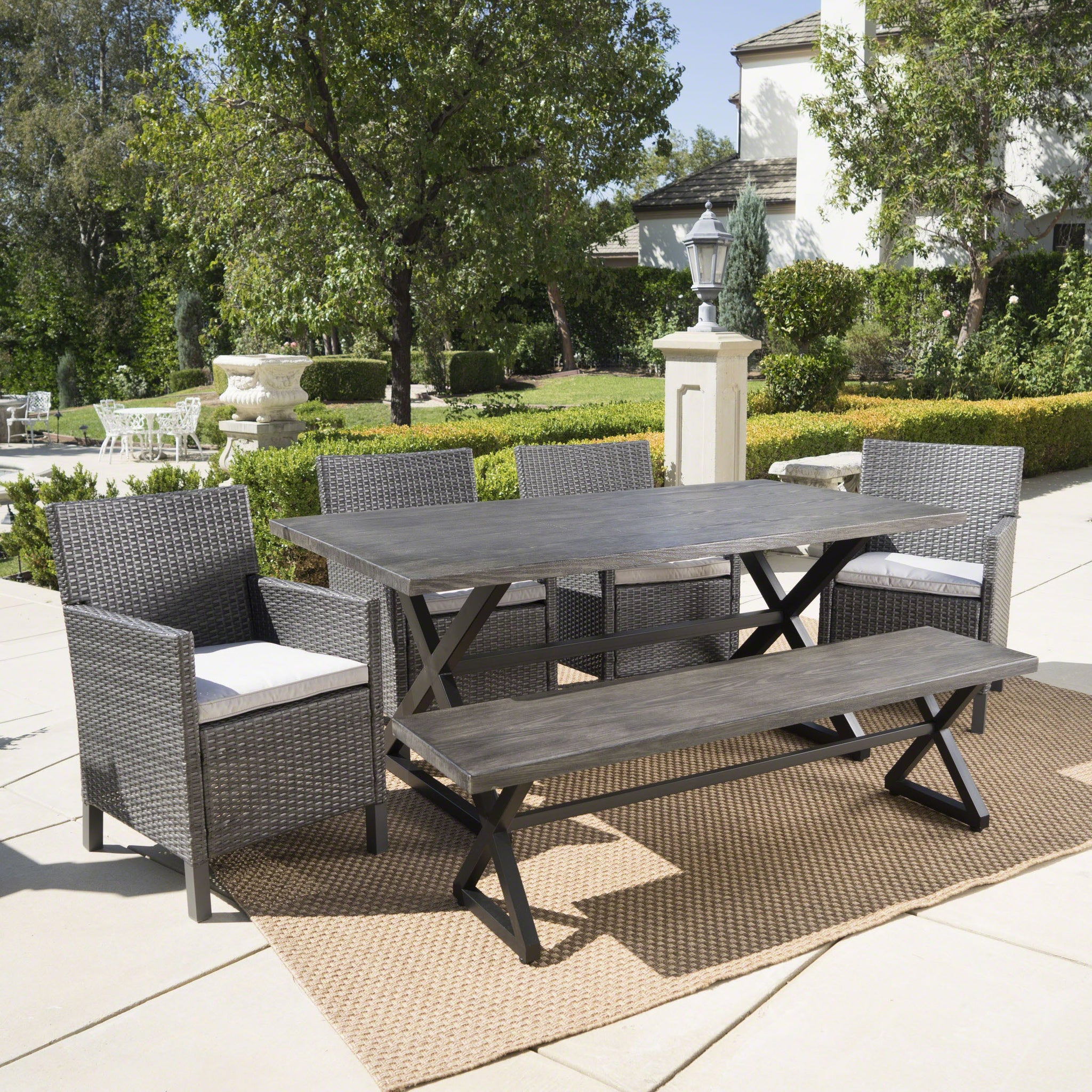 Agostini Outdoor 6 Piece Wicker Rectangular Dining Set With Aluminum Dining Table And Water Resistant Cushions