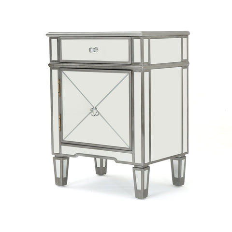 Navan Finished Mirrored 2 Drawer Cabinet With Faux Wood Frame