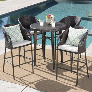 Doland Outdoor 5 Piece 41 Inch Wicker Round Bar Set With Water Resistant Cushions